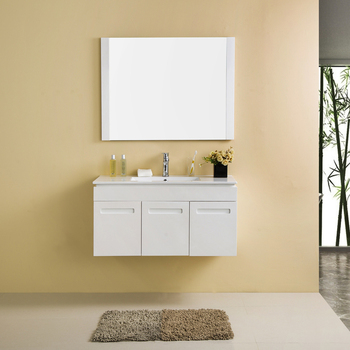 Wall Mount 3 Doors Modern White Plywood Bathroom Cabinets With Mirror Basin