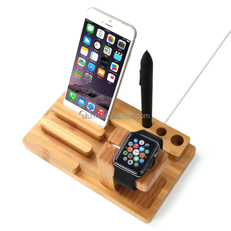 Multifunctional Bamboo Cell Phone Stand Bamboo Dual Charging Stand Cradle with Pen Holder, for All Versions of Apple Watch Pad