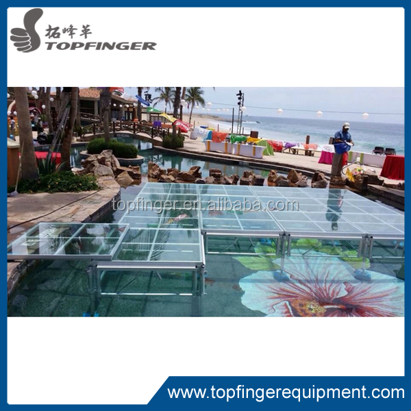 Factory price modern transparent wedding stage/ aluminum glass stage/ sturdy acrylic stage