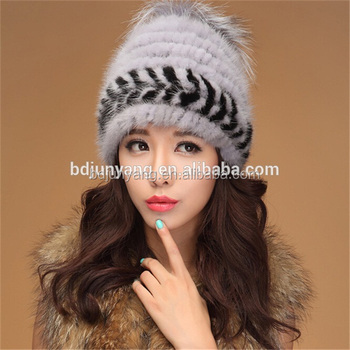 778bb41765b9b Chinese knit mink fur hat black winter hats with headphones winter hat with  led