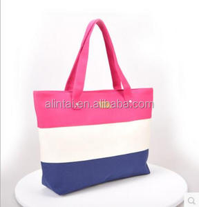 Newest Design Top-Handle Stripe Canvas Beach Tote Bag Fashion Lady Handbag Purse Shoulder Woman Handbag