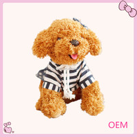 Custom wholesale plush cute mini dog in dress toy for kid