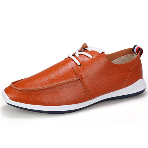 2015 New Mens Loafers Shoes Leather Casual Lace Up Man Flats Shoes Scarpe Uomo Handmade Moccasins Shoes Spring Orange Size 39-44