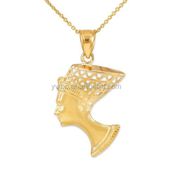 Custom Design Yellow Gold Egyptian Queen Pendant Necklace Buy