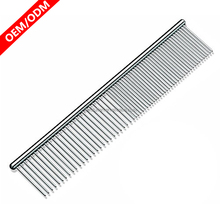 The Comfortable 7 Inch Pet Grooming Comb with Different-spaced Rounded Hypoallergenic Stainless Steel Teeth