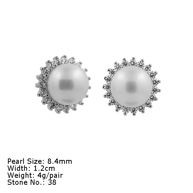 GPZ-002 Freshwater Button Pearl Fine Jewelry High Quality Silver Pearl Earring