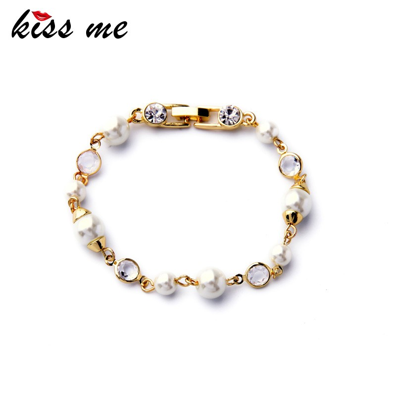 Fashion Imitation Pearl Bracelet Simple Friendship Gold Plated Bracelets