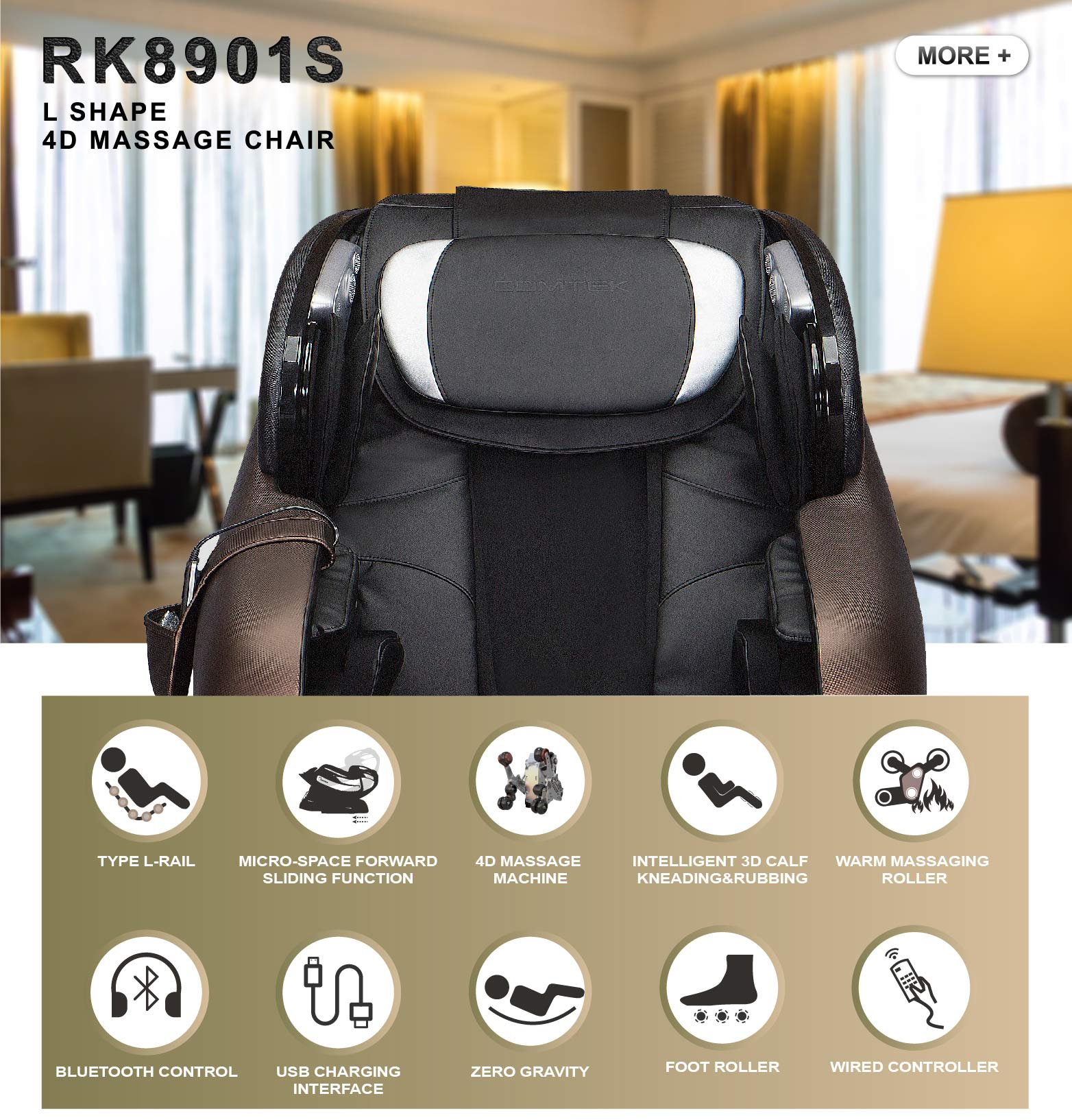 RK8901S kneading massage cushion with infrared heat