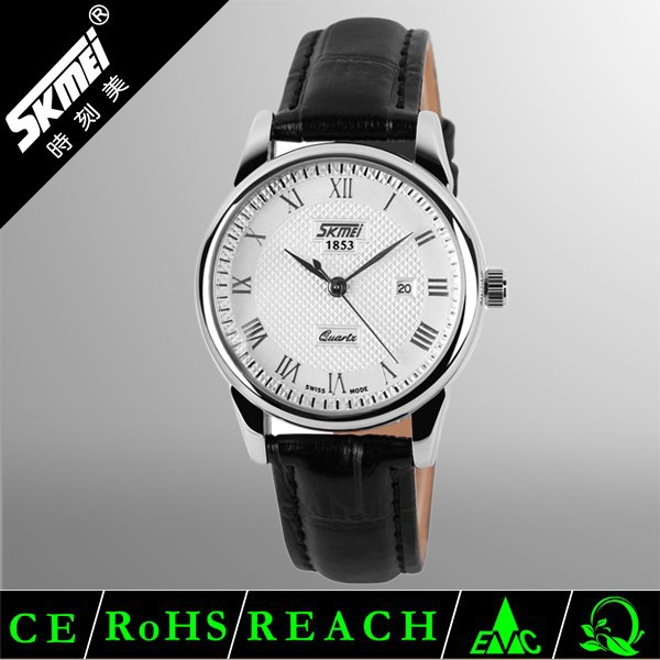 30M Waterproof Genuine Leather Lady Watch,China Stock Supply Classic Black Leather Lady Watc