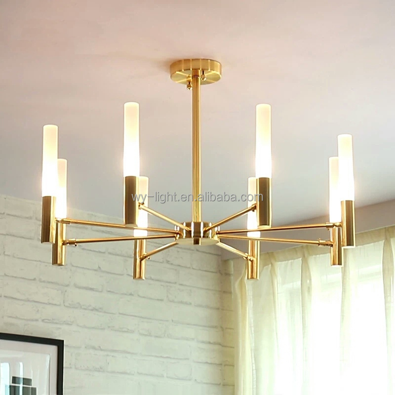 Nordic modern iron art living room chandelier with rotating lamp arm