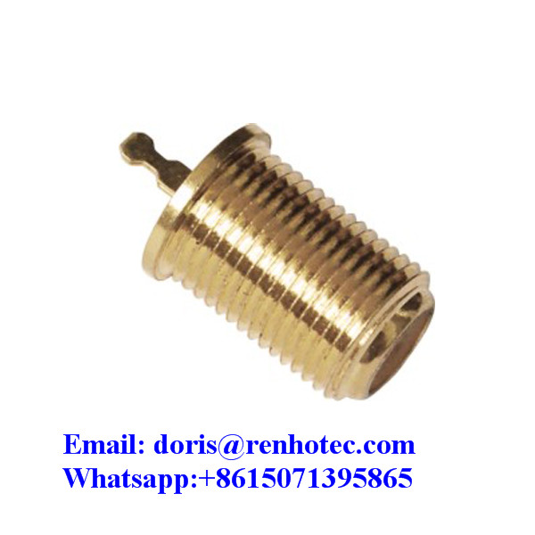 Gold Plated Straight Vertical Dip PCB Mount Female F connector For CCTV