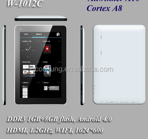 10.1 pulgadas 1g/8g android tablet pc/10.1 pulgadas boxchip A10 de la tableta con wifi bluetooth fm