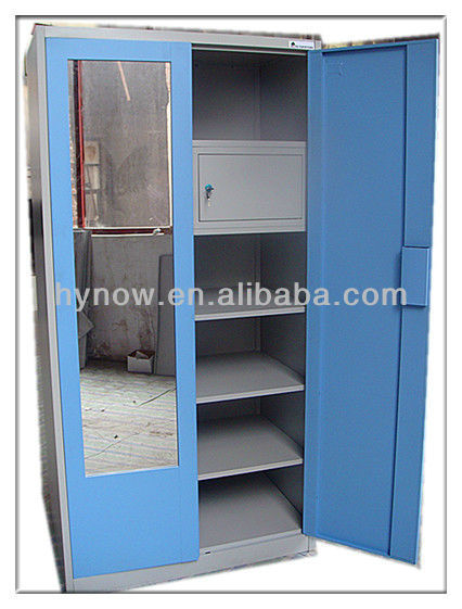 2013 New Products Double Door India Wardrobe Designs Bedroom Wardrobe With  Mirror Metal Godrej Office Furniture