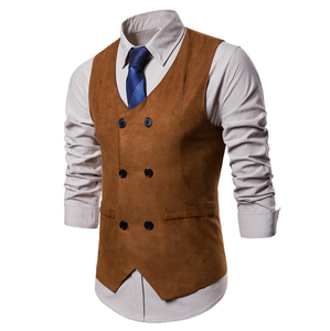 c10271a men's clothing suede waistcoat double breasted vest