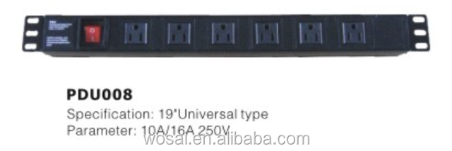 Source Universal standard type Server rack outlet 6 WAY on m