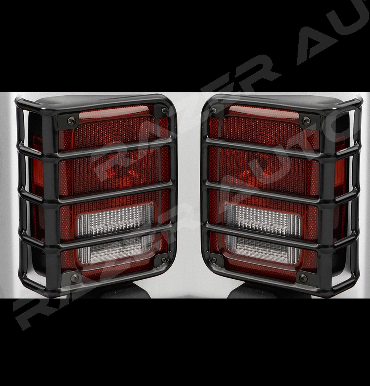 Razer Auto 07-17 Jeep JK Wrangler Rubicon Gloss Black Metal Euro Tail Light Taillight Lamp Guards Cover