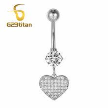 G23titan оптовые ювелирные изделия тела серебряного цвета кристаллические кольца для живота 16 г титановые висячие кольца для живота, пусеты дл...(Китай)