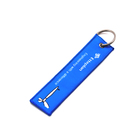 High Quality Custom Logo Embroidery Woven Keychain with Metal Keyrings