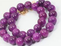 Gemsnorm jewelry High quality 14 mm smooth round jade beads jewelry natural purple jade necklace