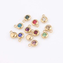 Gold Color Stainless Steel Lucky Birthday Stone Pendant DIY Accessories 6.5mm 12 Birthstones Charms