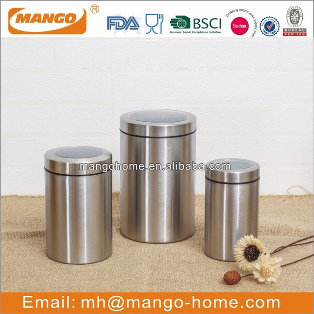 Different Size Matt Color Stainless Steel Kitchen Food Canister Sets