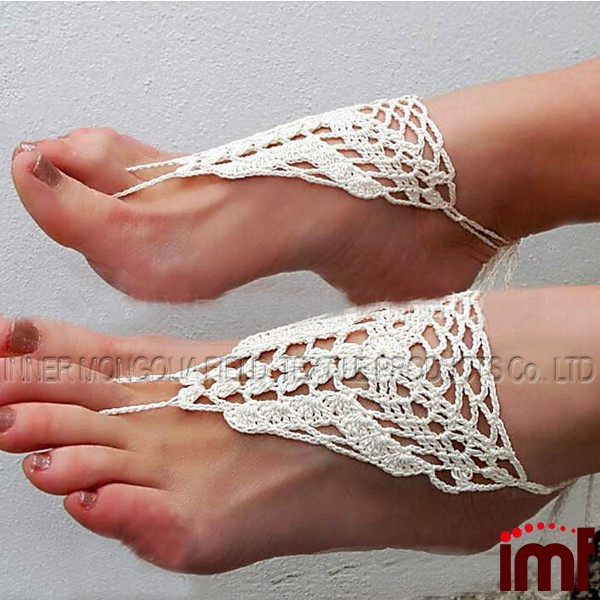 Crochet Nude shoes White Barefoot Sandles
