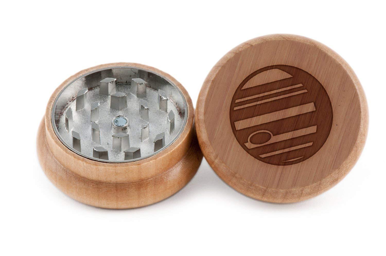 GRINDCANDY Spice And Herb Grinder - Laser Etched Jupiter Design - Manual Oak Pepper Grinder