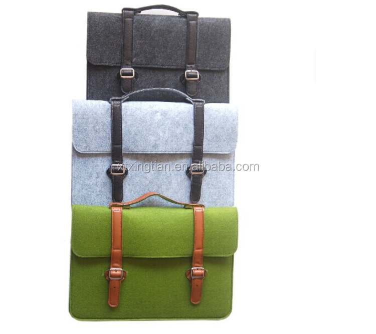 Handle felt laptop case heat transfer 100% wool felt laptop sleeve with leather