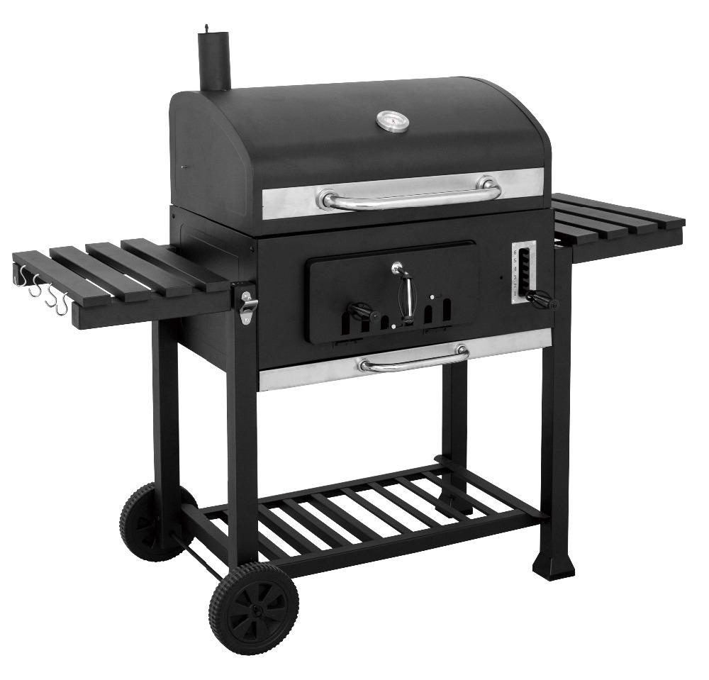 Outdoor bbq houtskool grill met 2 side houten tafel voor duitsland ...