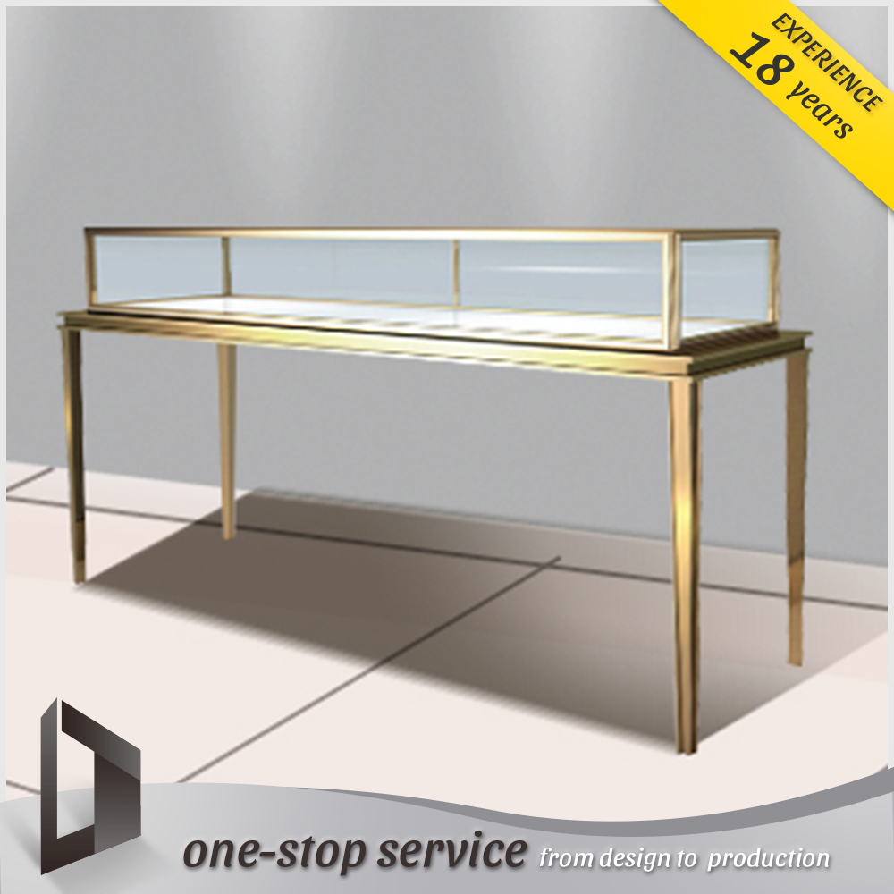 jewelry show case golden metal frame used cases jewelry kiosk display case