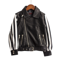 KS10358B Fashionable kids motorcycle jacket latest design leather jacket zipper up