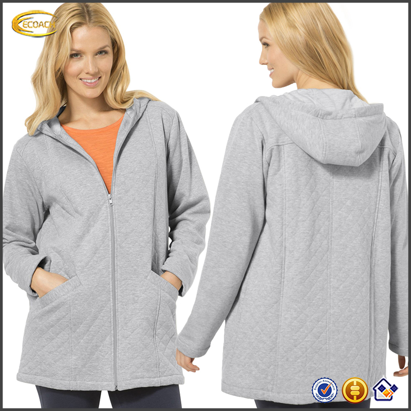 Ecoach China hooded jacket manufacturers women's plain quilted fleece hooded jacket