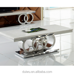 Customized stainless steel loft metal low tea table modern living room furniture natural white marble centre table