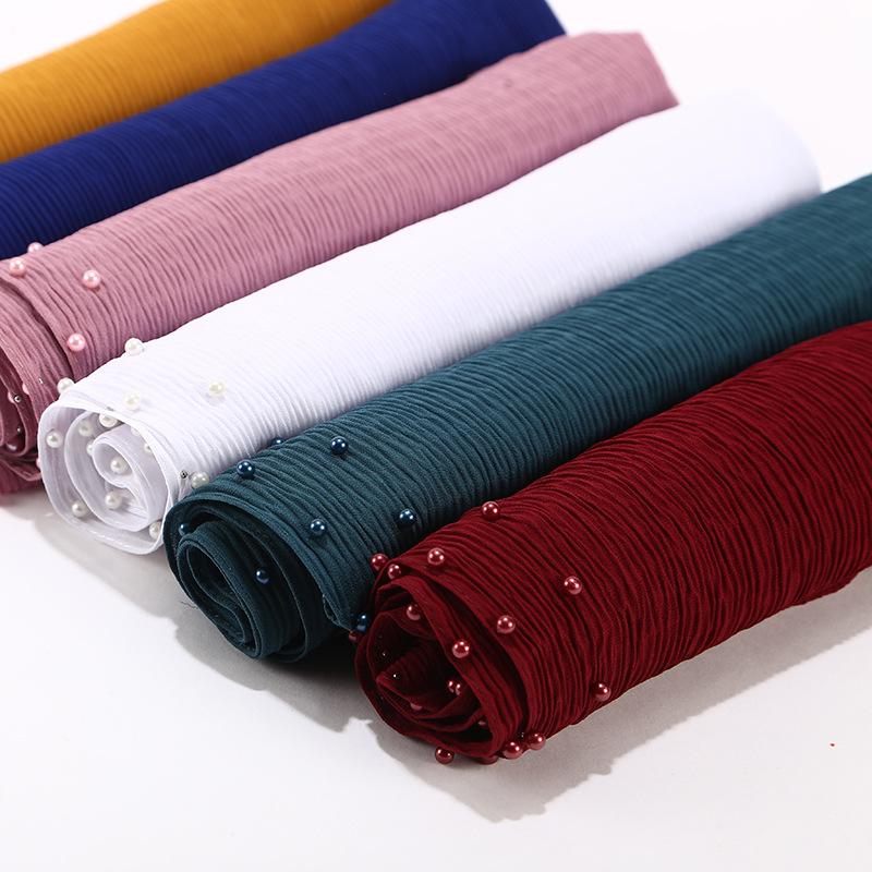 High quality 180*75cm wholesale muslim women scarf pleated bubble chiffon shawl hijab with beads