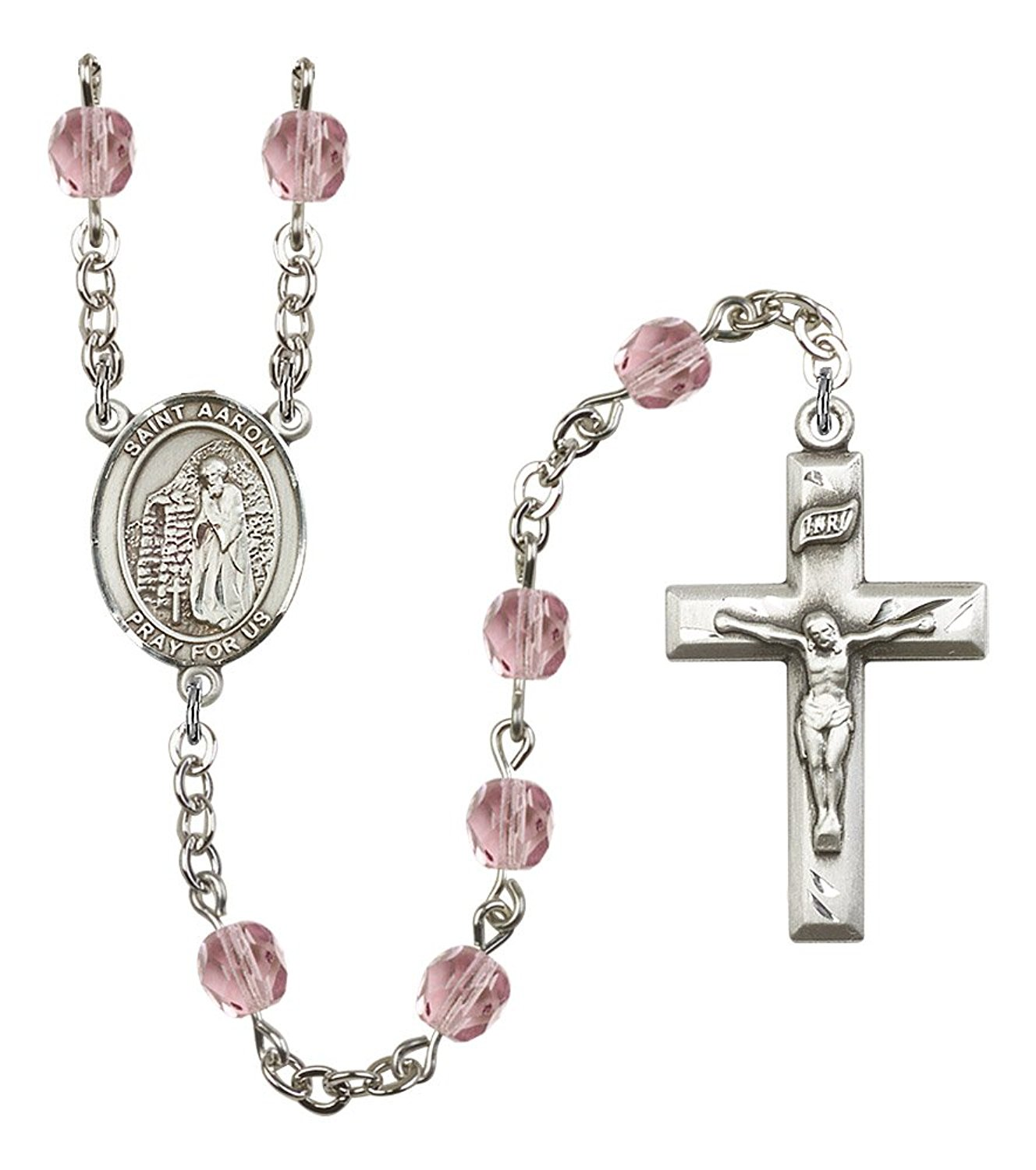 Silver Finish St. Aaron Rosary with 6mm Light Amethyst Color Fire Polished Beads, St. Aaron Center, and 1 3/8 x 3/4 inch Crucifix, Gift Boxed