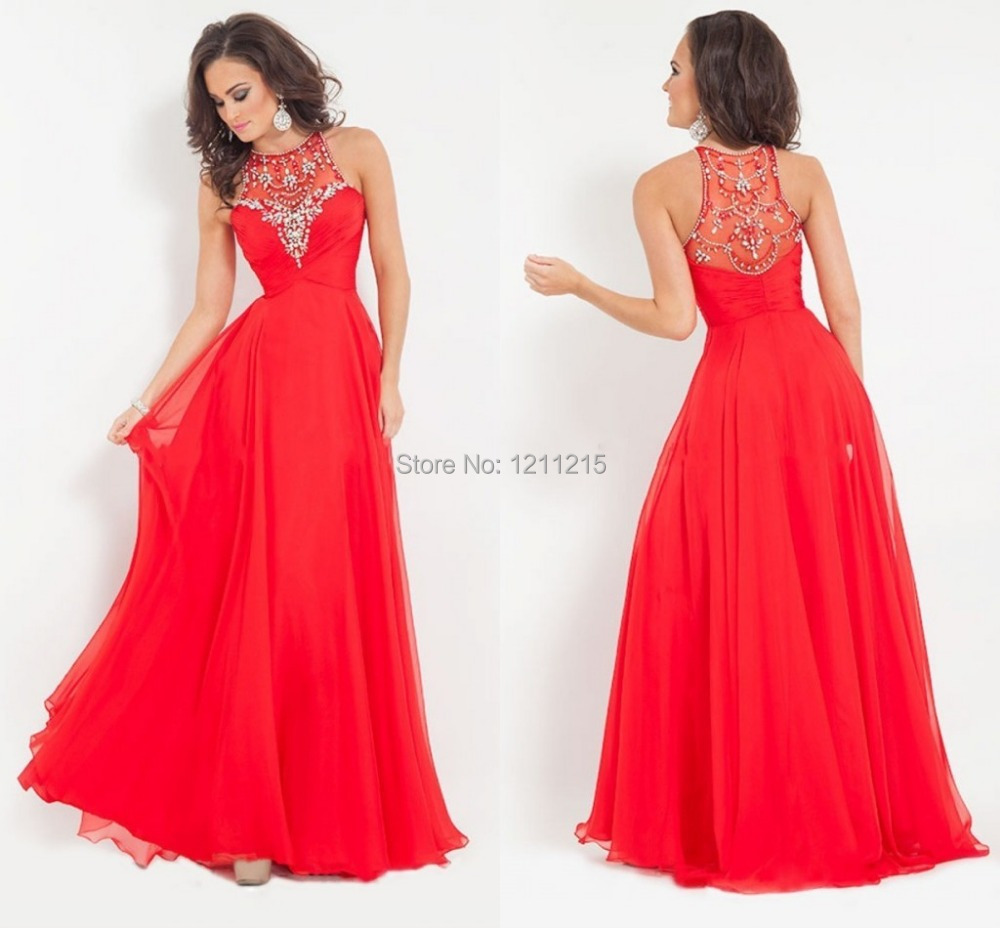 b124ded5ff3 Get Quotations · New Fashion A-line Long Red Prom Dress 2015 Scoop Neck  Beading and Crystal Pageant