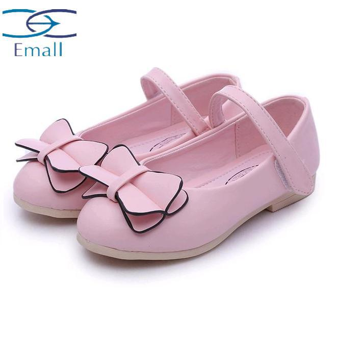 2015 Autumn New fashion casual grils leather shoes Korean girls princess shoes  big bow plus size 26-36 girls flats shoes baby