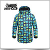 Allover printed green check snowboard wearing man