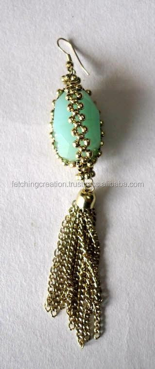 Light Green stone bead with golden metal chain earrings