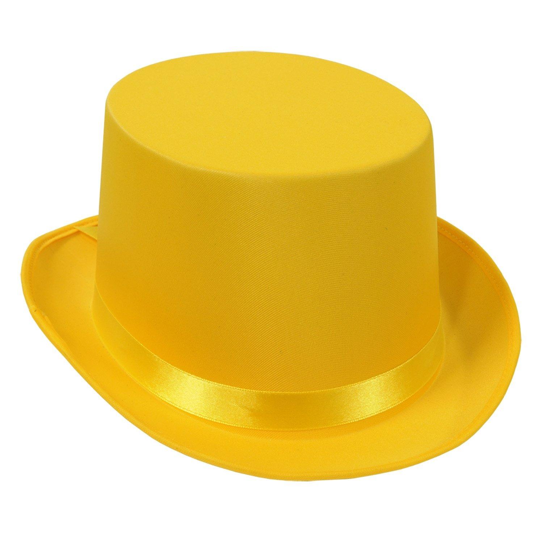 Beistle 60839-Y 6-Pack Satin Sleek Top Hat, Yellow