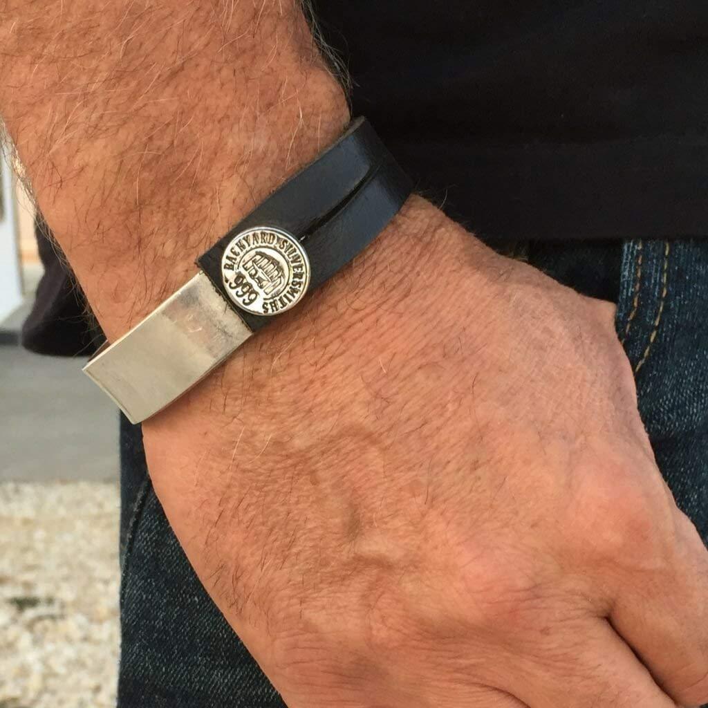 Leather Silver Bracelet Men Find