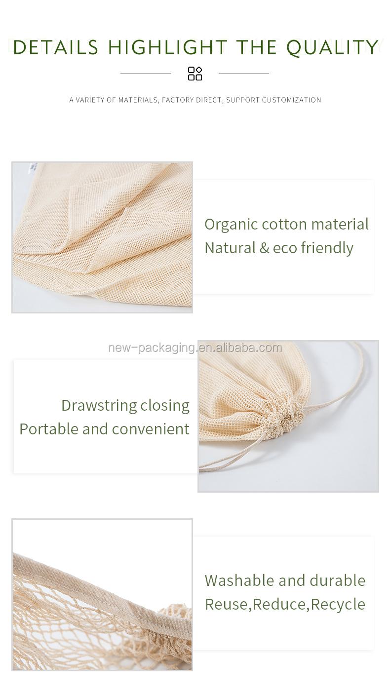Eco freundliche mehrweg produzieren organische baumwolle mesh taschen