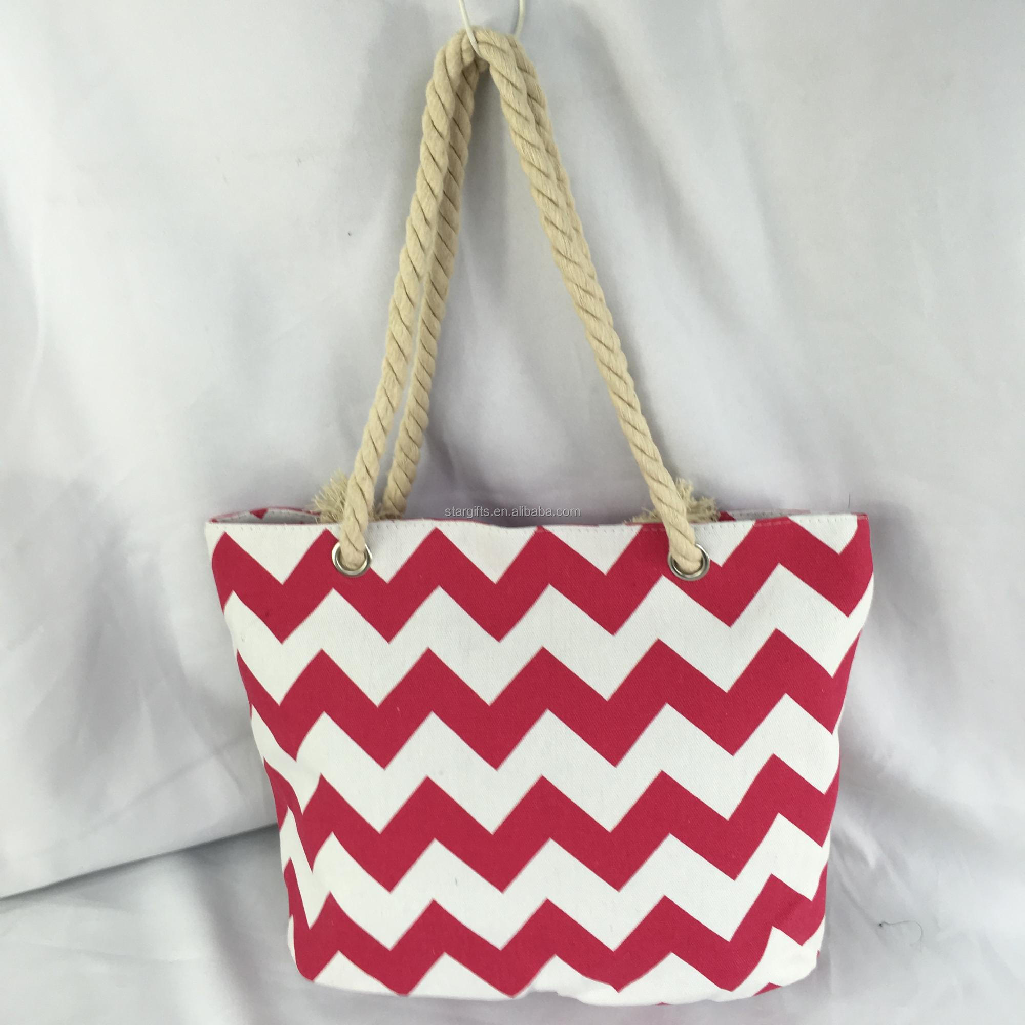 Wholesale Custom Striped Zipper Canvas Summer Tote Bag With Cotton Strap