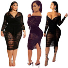 Sexy plus size mesh lace see through midi dress v neck long sleeve tight women clothing