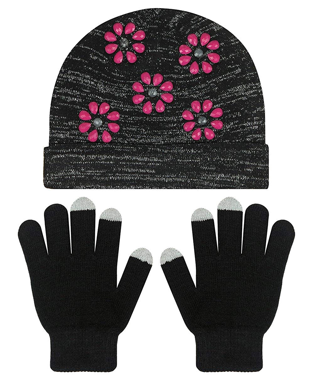 Capelli New York Girls Knit Hat with Flower Gems and Gloves Set