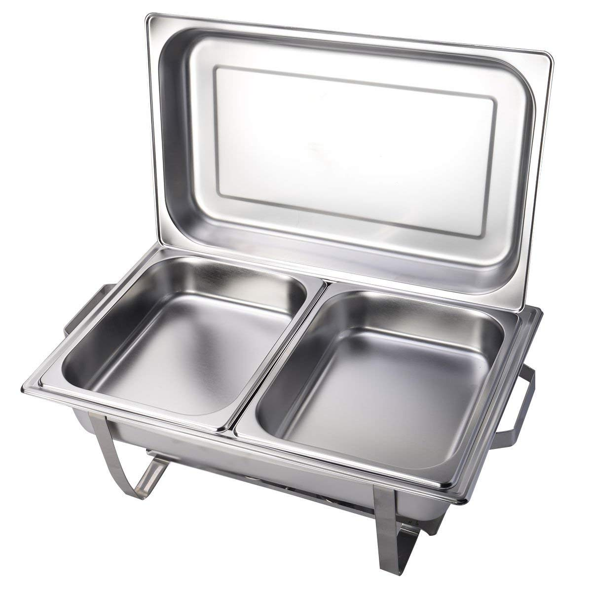 """Rectangular Chafing Dish Steel Stainless 2 Packs of 9 Quart Full Size 24"""" x 14"""" x 11.4"""" (L x W x H)"""