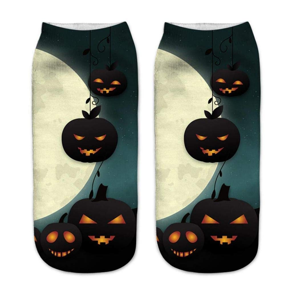 Appoi Colorful Cute Casual Business Socks 3D Halloween Pumpkin Ghost Printing Medium Sports Cotton Socks Womens Mens (D)