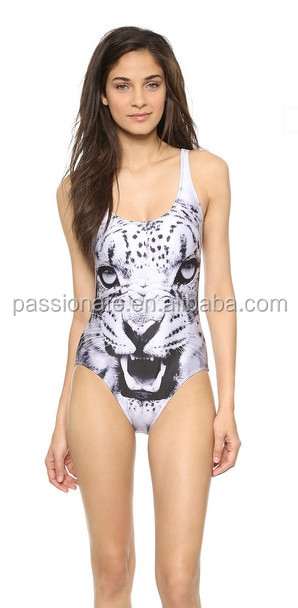 Tiger 3D Digital Print Hot Sexy One Piece Custom Extreme Sheer บิกินี่