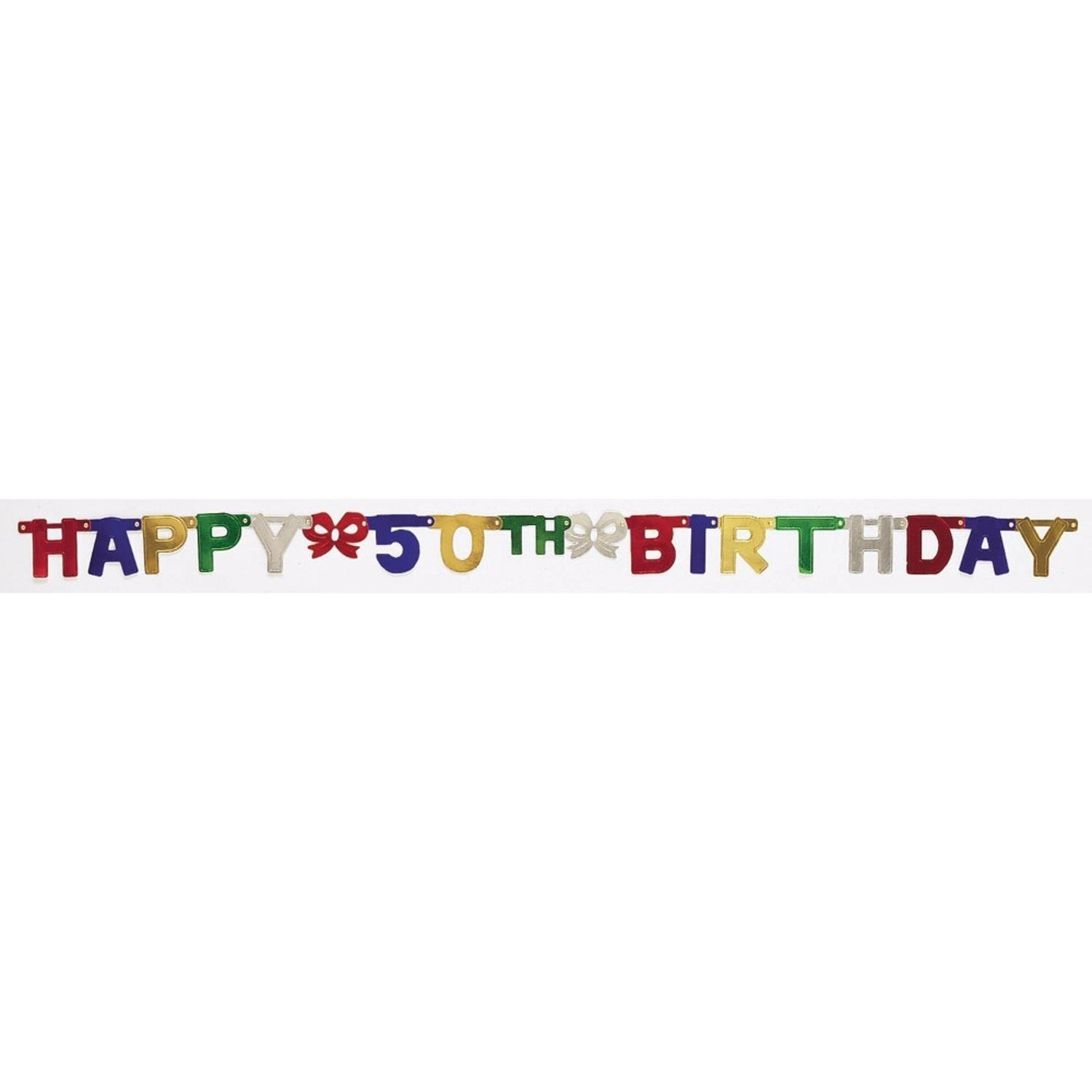 Cheap 50th birthday banners find 50th birthday banners deals on club pack of 12 multi colored happy 50th birthday small jointed party banners publicscrutiny Image collections