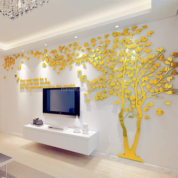 3D Mirror Tree Acrylic Wall Stickers Creative Lovers Decals TV Background Decoration